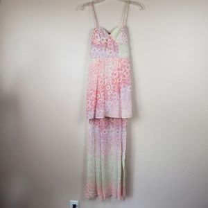 Nasty Gal Pink Floral High Low dress size small